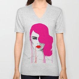 Pink Unisex V-Neck