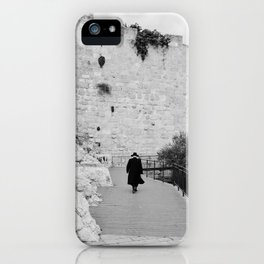 Portrait of a men walking to The Western Wall in the Old City, Jerusalem | Holy place for religious jewish people in Israel | Travel photography black and white iPhone Case