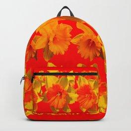 CHINESE RED GOLDEN DAFFODILS GARDEN ART DESIGN Backpack