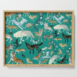 Wolves of the World Green pattern Serving Tray