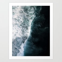 Oceanscape - White and Blue Art Print