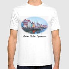 The Quay at Nyhavn, Copenhagen, Denmark MEDIUM Mens Fitted Tee White