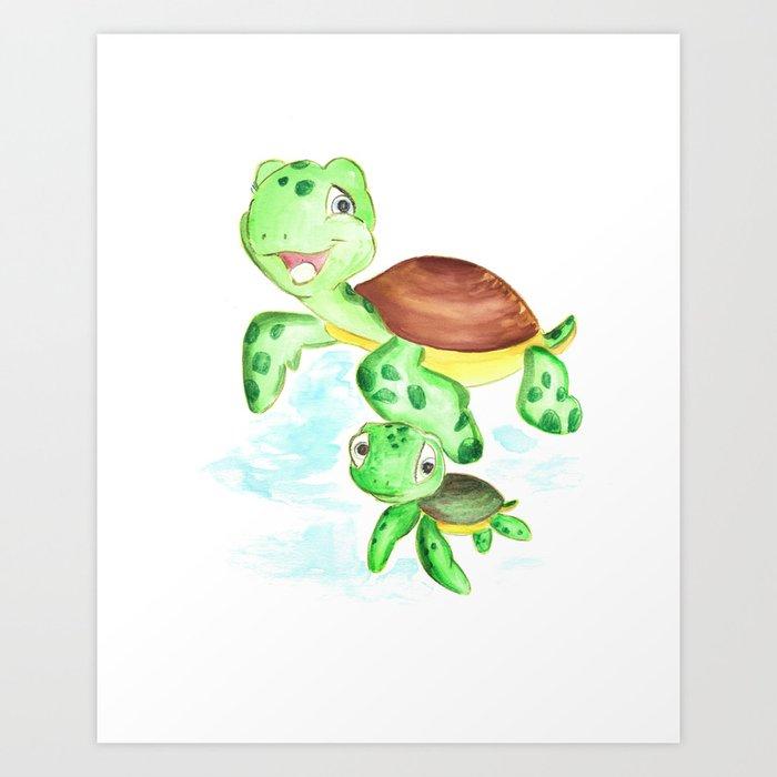 Turtle Baby And Mom Nautical Wall Decor Ocean Themed Nursery Sea Animals Watercolor Art Print By Dariaart