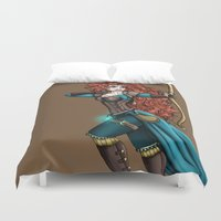 merida Duvet Covers featuring Steampunk Merida by Hungry Designs
