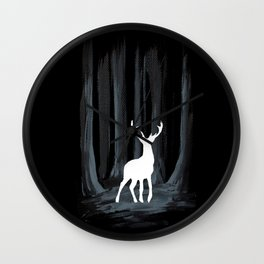 Glowing White Stag Wall Clock