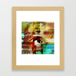 Red Panda Abstract  mixed media art collage Framed Art Print
