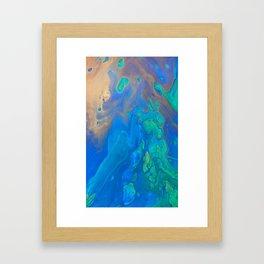 Slow Down Blue II - Bright Blue Green Fluid Painting Framed Art Print