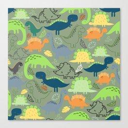 Dinosaurs jungle pattern Canvas Print