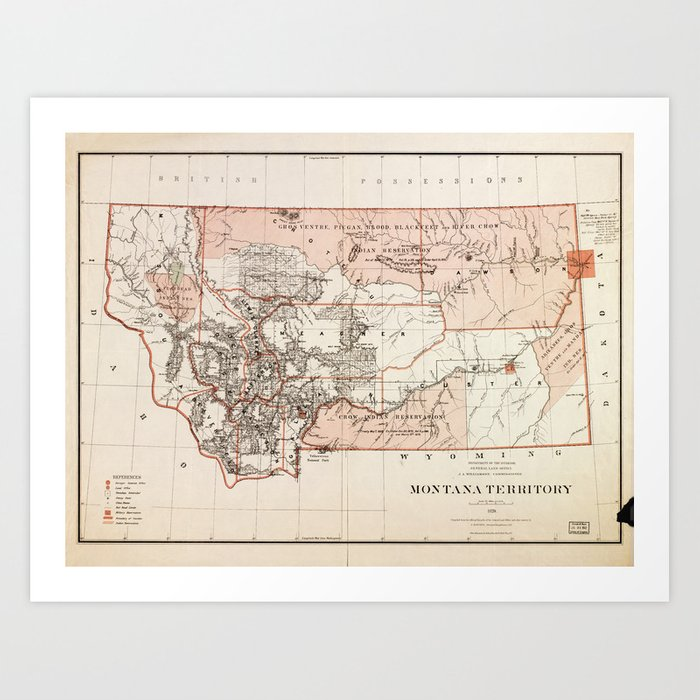 image regarding Printable Map of Montana referred to as Map of Montana Territory by means of Charles Roeser (1879) Artwork Print