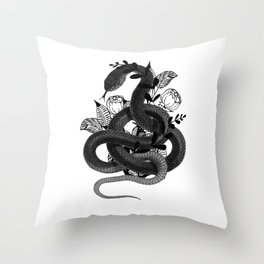 Snake with flowers background Throw Pillow