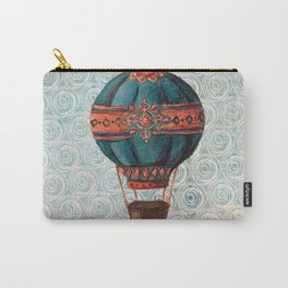 Vintage Hot Air Balloon: Navy and Coral Carry-All Pouch