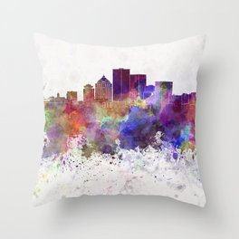Rochester NY skyline in watercolor background Throw Pillow
