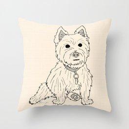 Westie Sketch Throw Pillow