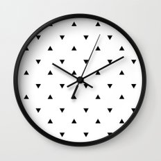 Black and white Triangles geometric pattern Wall Clock