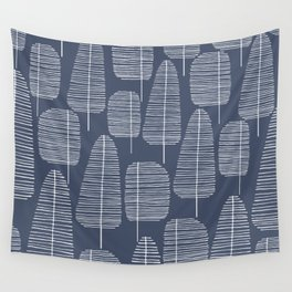 Mid Century Trees Blue Wall Tapestry