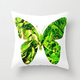 Fluid Butterfly (Green Version) Throw Pillow
