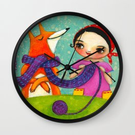 Knitting with her Foxy friend Wall Clock