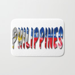 Philippines Word With Flag Texture Bath Mat