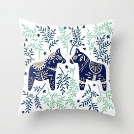 Swedish Dala Horse – Navy & Mint Palette Throw Pillow