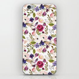 Violet pink yellow green watercolor modern floral pattern iPhone Skin