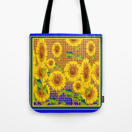 BLUE RUSTIC SUNFLOWERS FIELD ART Tote Bag