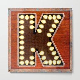 Monogram Letter K - Vintage Style Lighted Sign Metal Print