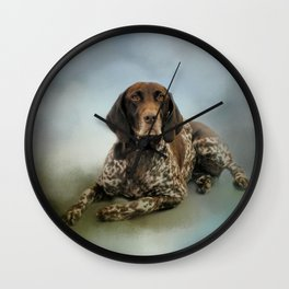 Waiting For A Cue - German Shorthaired Pointer Wall Clock