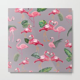 Flamingos Love Pattern 6 Metal Print