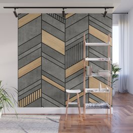 Abstract Chevron Pattern - Concrete and Wood Wall Mural