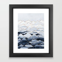 Mountains 2 - Gold Colored Lines Framed Art Print