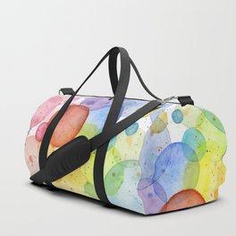 Watercolor Abstract Rainbow Circles and Splatters Duffle Bag