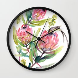 King Protea and Bird Watercolor Illustration Botanical Design Wall Clock