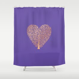 Rose Gold Foil Tree of Life Heart Shower Curtain