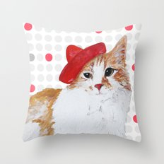 red hat cat  Throw Pillow
