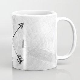 Black and White Wood Grain Compass Coffee Mug