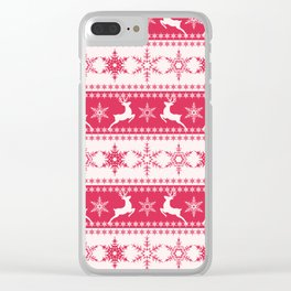 Christmas red and white pattern with decorative bands. Clear iPhone Case