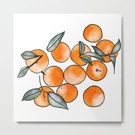 Watercolor Clementines Metal Print