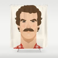 tom hiddleston Shower Curtains featuring Tom Selleck by Sezgi Abat