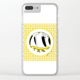 Breeze Block Sail Boat, yellow Clear iPhone Case