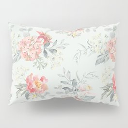 Bouquets of pink flowers and pearly gray leaves Pillow Sham