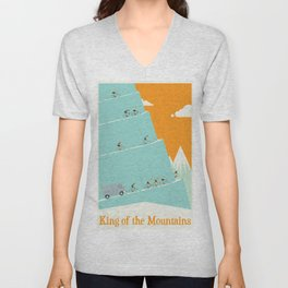 King of the Mountains Cycling Grand Tour Unisex V-Neck