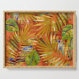 Tropical Leaves Abstract Serving Tray