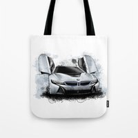 bmw Tote Bags featuring BMW i8 by an.artwrok