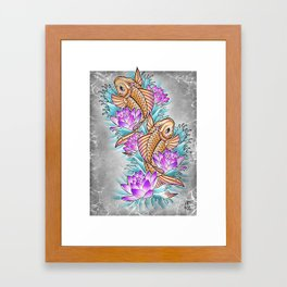 Koi & Lotus Framed Art Print