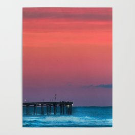Sunset by the Avalon Pier Poster