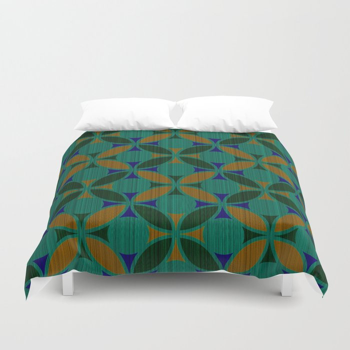 Geometric Fl Circles Textured Stripe Green Orange And Blue Duvet Cover By Denidesigns Society6
