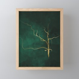 Kintsugi Emerald #green #gold #kintsugi #japan #marble #watercolor #abstract Framed Mini Art Print