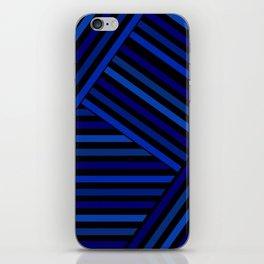 Dark blue striped patchwork iPhone Skin