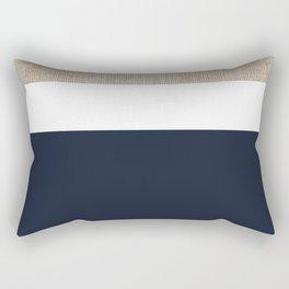 Faux Burlap, White, and Navy Minimalist Color Block 2  Rectangular Pillow