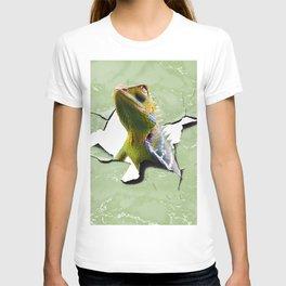 Funny Cute Chameleon Lizard Poking Head, Cracked Wall T-shirt